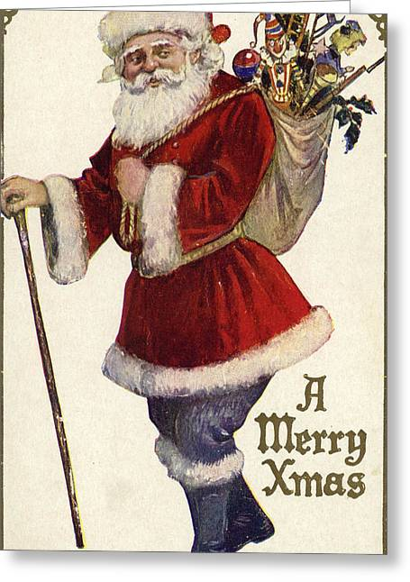 Father Christmas With A Bag Of Toys Greeting Card by English School