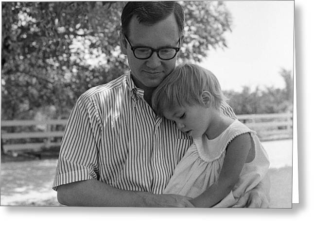 Father Comforting Young Daughter Greeting Card