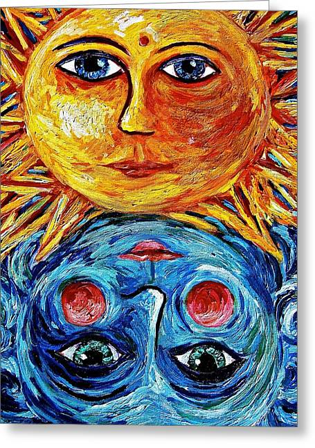 Father Sun And Mother Moon Greeting Card by Sebastian Pierre