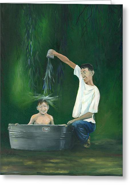 Greeting Card featuring the painting Fatherly Fun by Dan Redmon