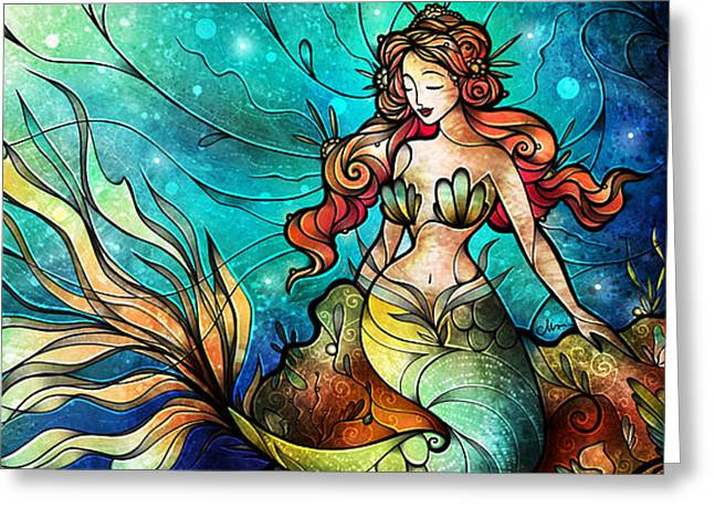 Fathoms Below Triptych Greeting Card by Mandie Manzano