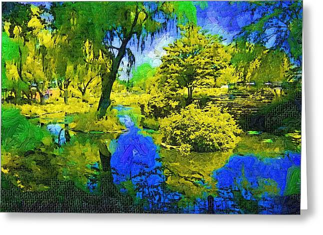 Fauvist Oil Pond Setting Greeting Card by Skyler Tipton