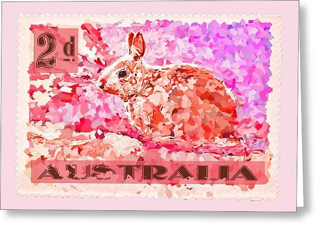 Faux Poste Bunny 2d Greeting Card