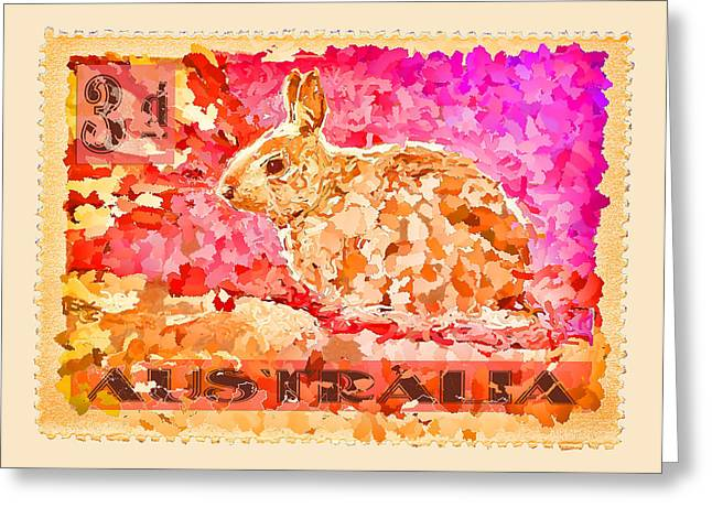Whimsy Photographs Greeting Cards - Faux Poste Bunny 3d Greeting Card by Carol Leigh