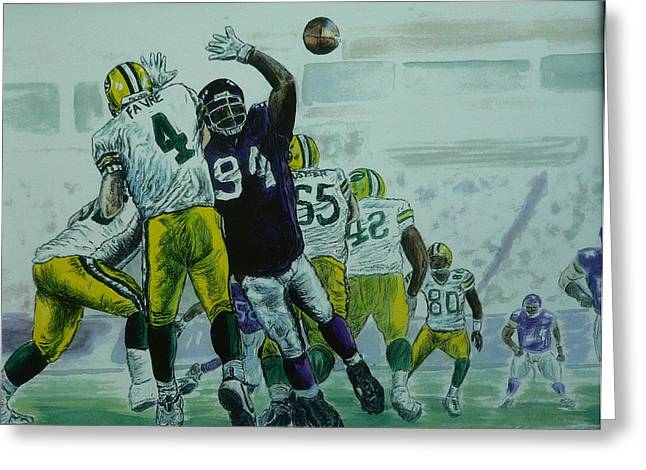 Favre Vs The Vikes Greeting Card