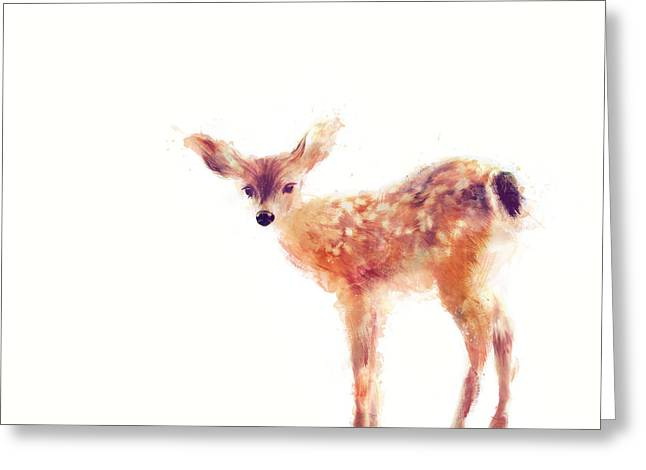 Fawn Greeting Card by Amy Hamilton