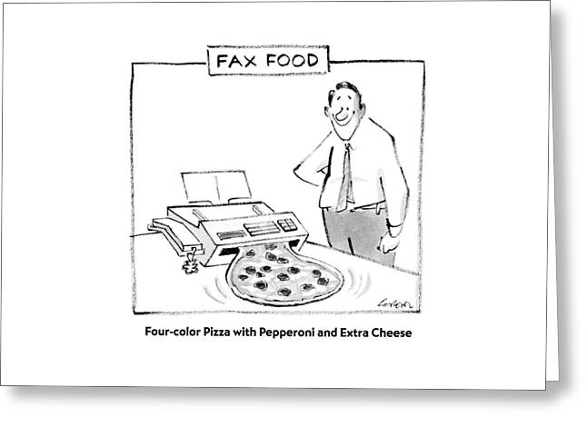 Fax Food 'four-color Pizza With Pepperoni Greeting Card