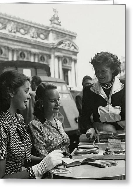 Fay Caulkins And Payne Payson Sitting At Cafe Greeting Card by Donald Honeyman