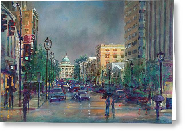 Fayetteville Street First Light Greeting Card