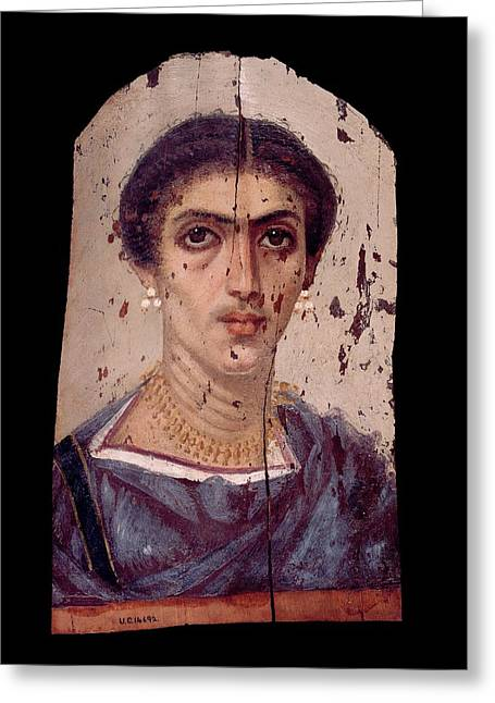 Fayum Mummy Portrait Greeting Card by Petrie Museum Of Egyptian Archaeology, Ucl