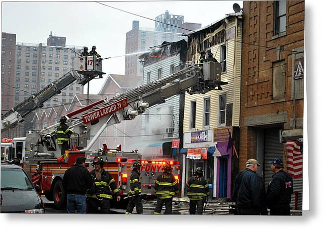 Fdny Tower Ladders At Work Greeting Card