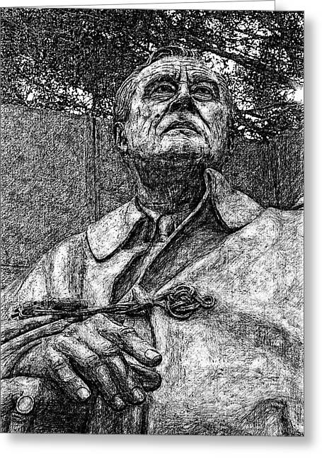 Fdr - 3164 Hard Ink Drawing Greeting Card