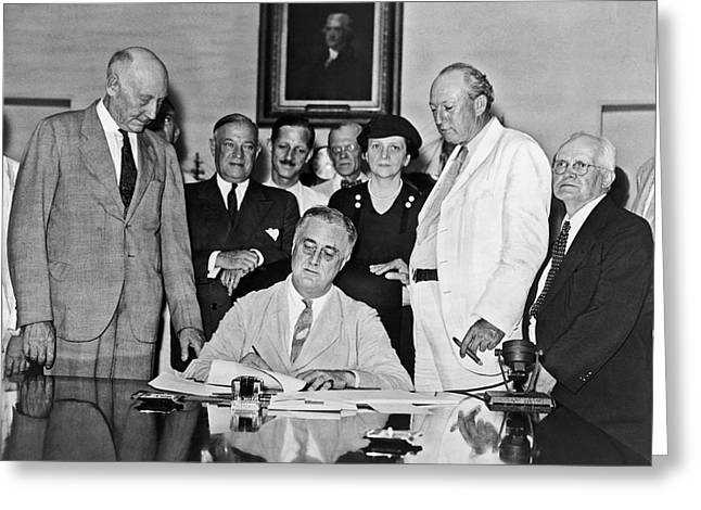 Fdr Signs Social Security Bill Greeting Card by Underwood Archives