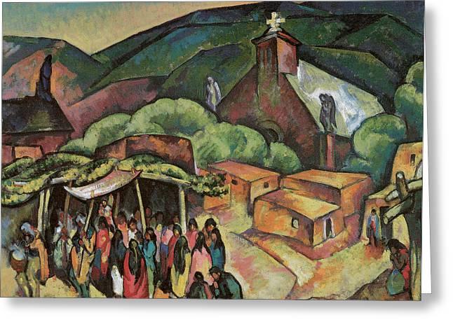 Feast Day San Juan Pueblo Greeting Card by William Penhallow Henderson