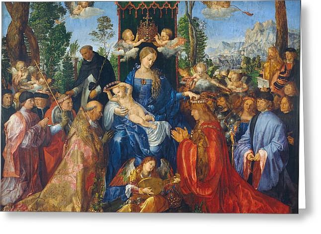 Feast Of Rose Garlands Greeting Card by Albrecht Durer