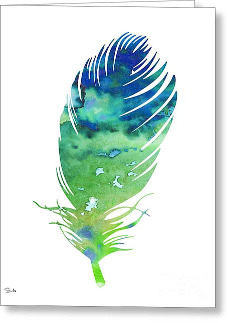 Feather 3 Greeting Card by Watercolor Girl