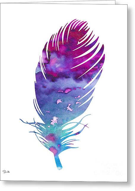 Feather 4 Greeting Card by Watercolor Girl