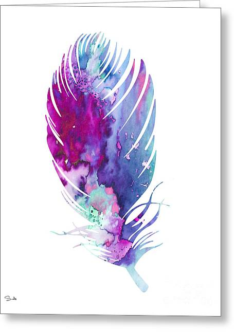 Feather 6 Greeting Card by Watercolor Girl
