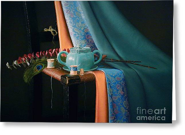 Feather And Threads Greeting Card by Barbara Groff