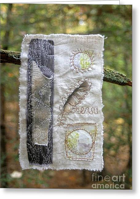 Feather In The Forest Greeting Card by Linda Marcille