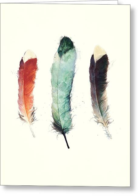 Feathers Greeting Card by Amy Hamilton