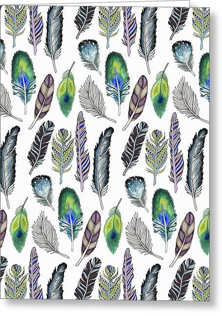 Feathers Illustrative Funky Bohemian Repeat On White.jpg Greeting Card
