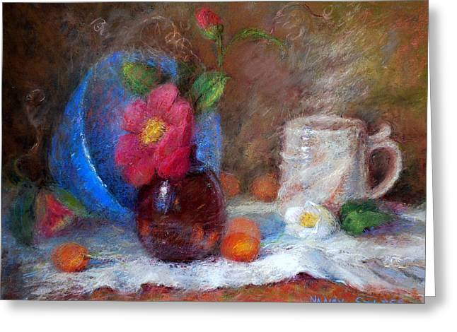 Featured Blue Bowl   Greeting Card by Nancy Stutes