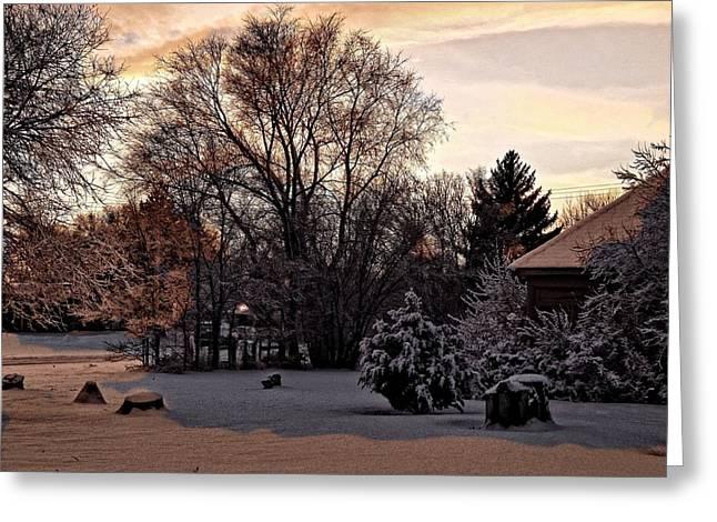 Greeting Card featuring the digital art February Evening Light by Aliceann Carlton