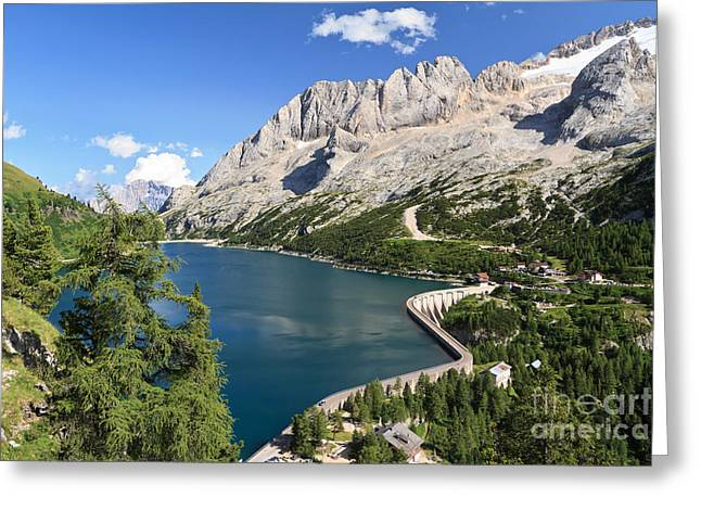 Greeting Card featuring the photograph Fedaia Pass With Lake by Antonio Scarpi