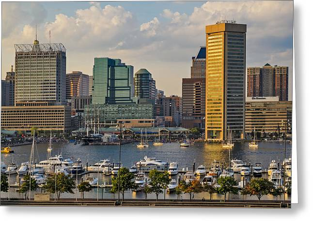 Federal Hill View To The Baltimore Skyline Greeting Card by Susan Candelario