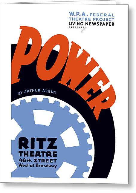 Federal Theatre Project Presents Power Wpa Greeting Card