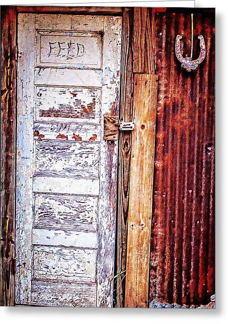Feed Room Door Greeting Card by Kelly Kitchens