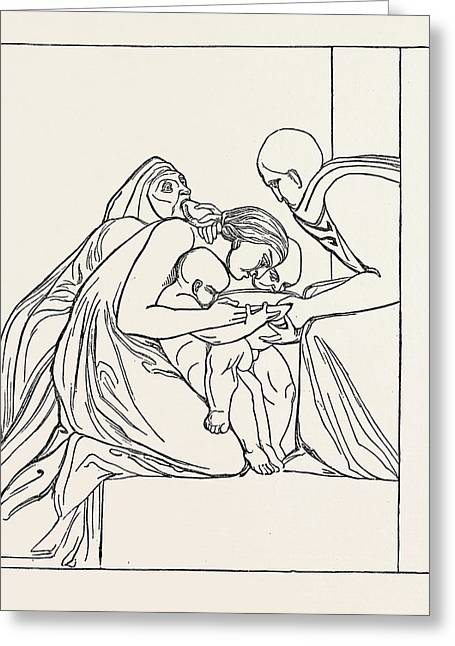 Feed The Hungry From A Bas-relief Of John Flaxman Greeting Card
