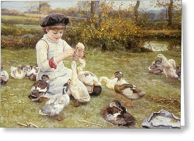 Feeding Ducks Greeting Card by Edward Killingworth Johnson