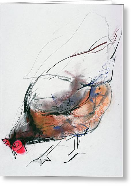 Feeding Hen, Trasierra Greeting Card by Mark Adlington