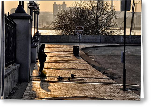 Feeding The Birds At Dawn Greeting Card by Bill Cannon