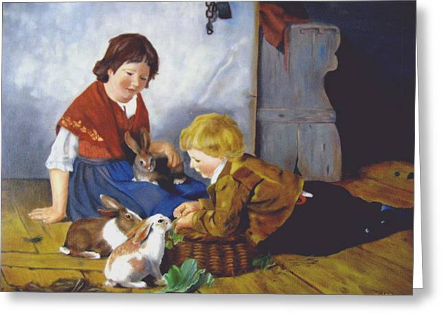 Feeding The Bunnies Greeting Card by Zelma Hensel