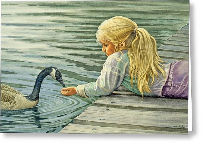 Feeding The Canada Goose Greeting Card