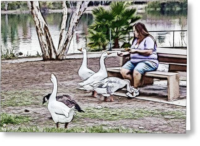 Greeting Card featuring the digital art Feeding The Geese by Photographic Art by Russel Ray Photos