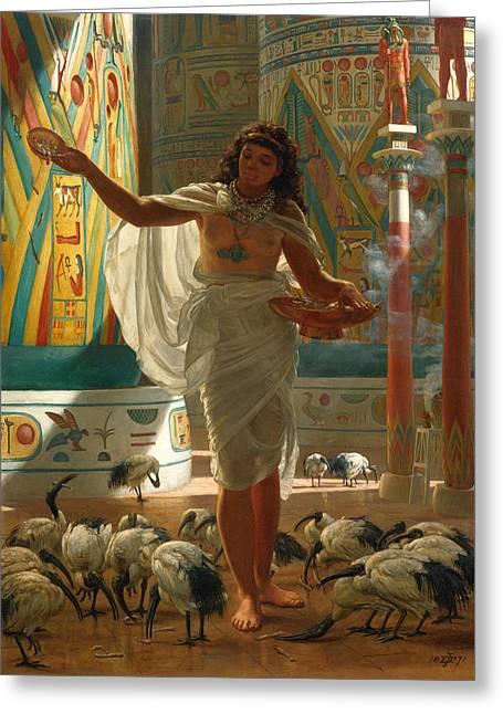 Feeding The Sacred Ibis In The Halls Of Karnac Greeting Card by Edward John Poynter