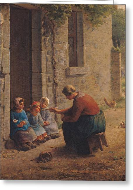 Feeding The Young Greeting Card by Jean-Francois Millet