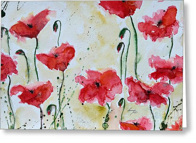 Feel The Summer 1 - Poppies Greeting Card by Ismeta Gruenwald