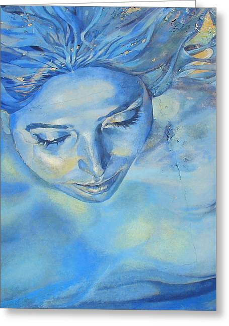 Feeling Blue Greeting Card by Ramona Johnston