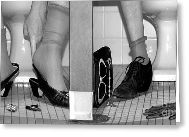 Feet In Toilet Stalls Greeting Card