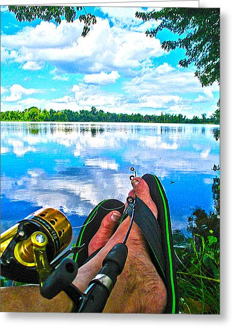 Feet Up Fishing Crab Orchard Lake Greeting Card
