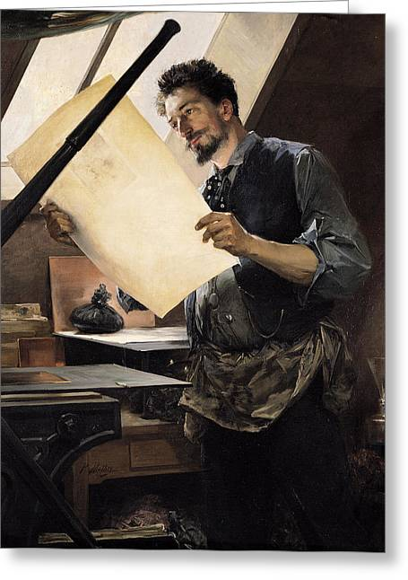 Felicien Rops 1833-98 In His Studio Oil On Canvas Greeting Card by Paul Mathey