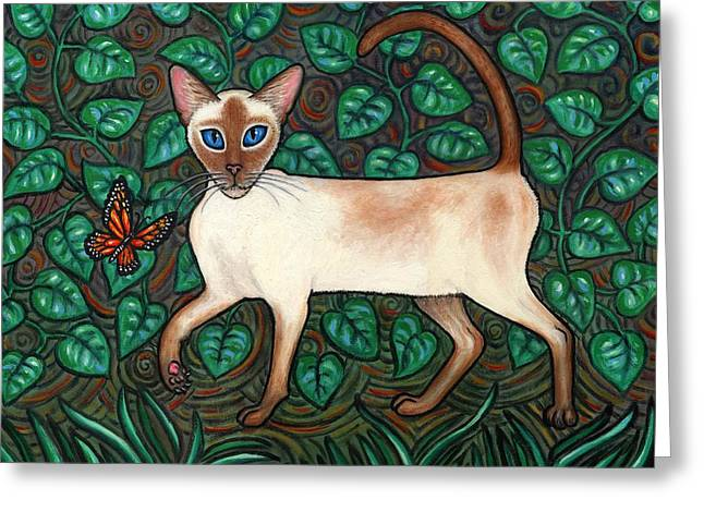 Felina And The Monarch Greeting Card by Linda Mears