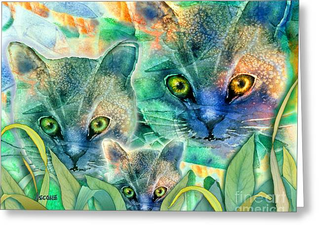 Greeting Card featuring the painting Feline Family by Teresa Ascone