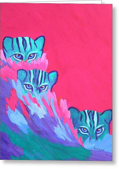 Greeting Card featuring the painting Feline Fishers by Margaret Saheed