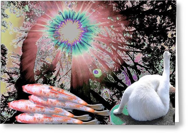 Feline Utopia Greeting Card by Laureen Murtha Menzl